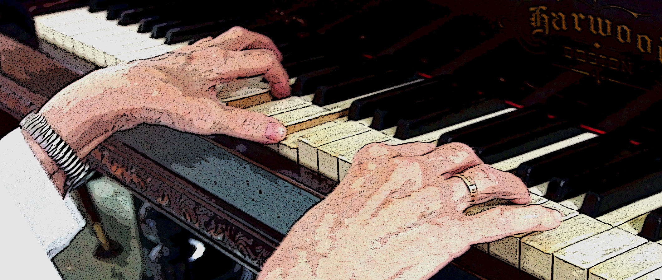 Illustration de mains sur le clavier d'un piano